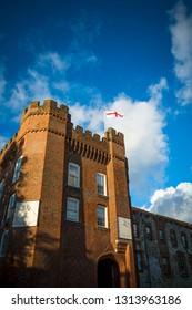 Farnham castle against blue sky in Surrey