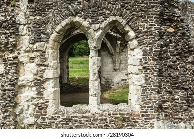Farnham, Surrey, UK: Closeup detail of the ruins of Waverley Abbey, the first Cistercian abbey in England.
