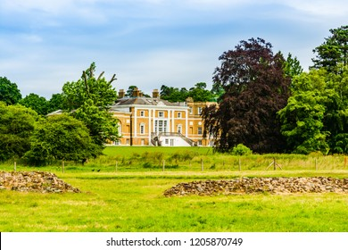 Farnham, Surrey, UK - July 9, 2016: Waverley Abbey House situated next to the Ruins of Waverley Abbey, the first Cistercian abbey in England.