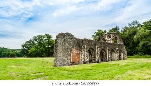 Farnham, Surrey, UK: Ruins of Waverley Abbey the first Cistercian abbey in England.