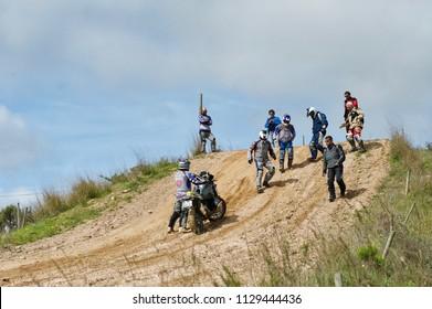 Faro, Portugal, 02.27.2016.The motorbikers off road training.