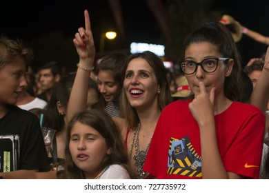 FARO, PORTUGAL: 03rd SEPTEMBER, 2017 - Audience watching the music band, HMB, performing on Festival F, a big festival on the city of Faro, Portugal.