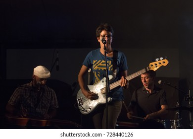 FARO, PORTUGAL: 1st SEPTEMBER, 2017 - Music band, They're heading west, performs on Festival F, a big festival on the city of Faro, Portugal.