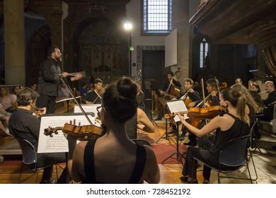 FARO, PORTUGAL: 1st SEPTEMBER, 2017 - Classic music band, Orquesta Classica do Sul, performs on Festival F, a big festival on the city of Faro, Portugal.