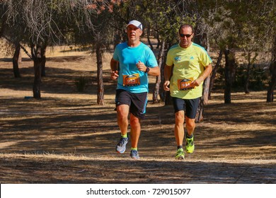 FARO, PORTUGAL - 24th September 2017: Runners in a forest trail performing on a 25km run.