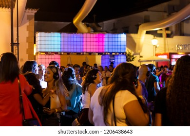 FARO, PORTUGAL: 30th AUGUST, 2018 - Audience enjoying music in headphones on Festival F, a silent disco concept.
