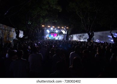 FARO, PORTUGAL: 31st SEPTEMBER, 2017 - Audience watching the music band, Samuel Uria, performing on Festival F, a big festival on the city of Faro, Portugal.