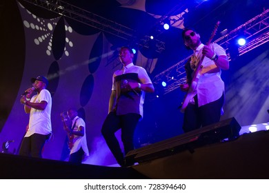 FARO, PORTUGAL: 3rd SEPTEMBER, 2017 - Music band, HMB, performs on Festival F, a big festival on the city of Faro, Portugal.