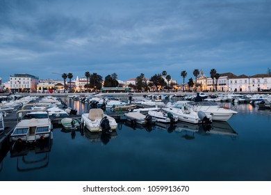 Faro - Portugal, April 1, 2018:View of the Old Town and the  Marina of Faro city, Portugal at night