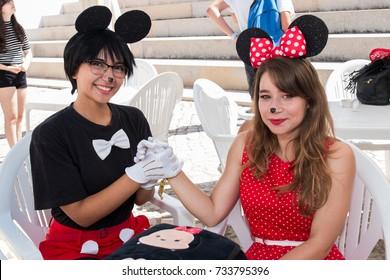 FARO, PORTUGAL - August 19, 2017: Cosplay disney fan girls in the Manga & Comic Event.