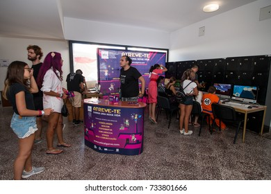 FARO, PORTUGAL - August 19, 2017: Gamers play computer games in the Manga & Comic Event.
