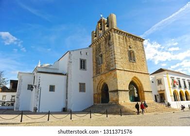 Faro, Portugal - Dec 9, 2017: Church of Santa Maria, Cathedral of Faro, Algarve Region, south of Portugal