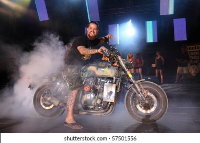 FARO, PORTUGAL - JULY 17: Awards delivery for the best motorcycles onstage at Internacional motorcycle show July 17, 2010 in Faro, Portugal.