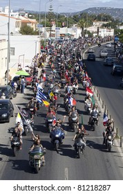 FARO, PORTUGAL - JULY 17:  Motorcyclists in the 30th International Motorcycle Rally, this year with 30 thousands participants from all over the world. July 17, 2011 in Faro, Algarve, Portugal.