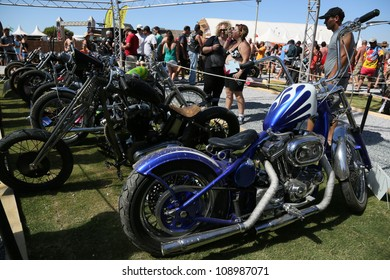 FARO, PORTUGAL - JULY 20: Motorcycle exhibition at the International Motorcycle Meeting JULY 20, 2012 in Faro, Portugal.