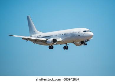 FARO, PORTUGAL - June 30, 2017 : Flights aeroplane landing on Faro International Airport. Airport