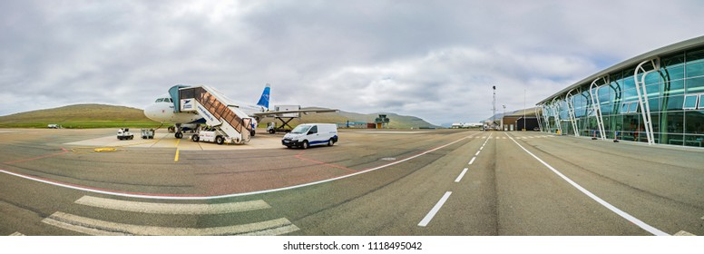 Faroe Islands -JUNE 2018:  Airplane Of Atlantic Airways At The Faroe Airport,  Waiting for the flight.
