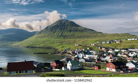 Faroe islands scenic village Sydrugota
