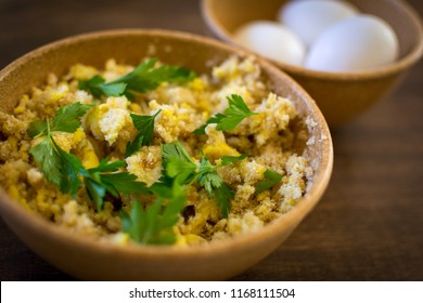 Farofa de ovos - scrambled eggs with flour - typical food of Brazil