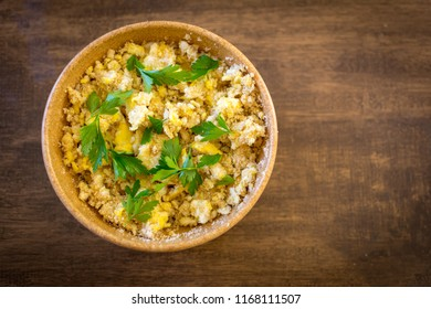 Farofa de ovos - scrambled eggs with flour - typical food of Brazil top view