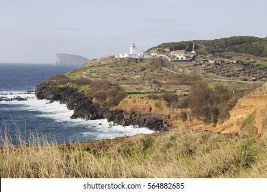 Farol das Contendas lighthouse at Terceira island Azores Portugal on January 9, 2017