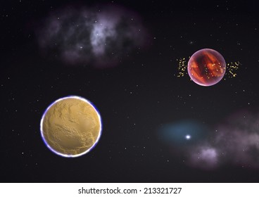 """Far-out planets in a space against stars. """"Elements of this image furnished by NASA""""."""