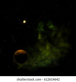 """Far-out planets in a space against stars and nebula. """"Elements of this image furnished by NASA"""". 3D rendering."""