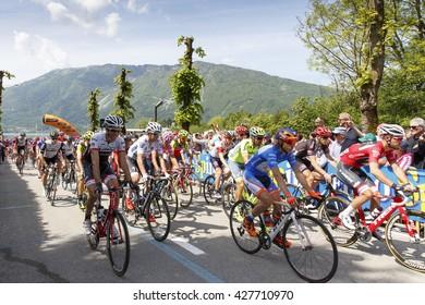 Farra d'Alpago lake Santa Croce, Italy - May 21, 2016: the start of the 99th Tour of Italy 2016 from Farra d'Alpago to Corvara.