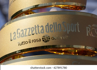 Farra d'Alpago lake Santa Croce, Italy - May21, 2016: the trophy prior to the start of the 99th Tour of Italy 2016 from Farra d'Alpago to Corvara.