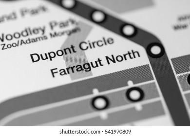Farragut North Station. Washington DC Metro map.