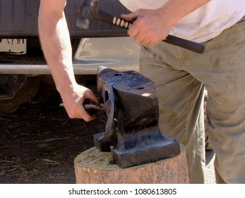 Farrier work. Farrier is a specific form of blacksmithing that works with hoofed animals. Farrier shapes metal for a horseshoe.