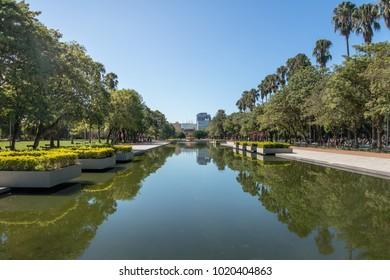 Farroupilha Park or Redencao Park reflecting pool - Porto Alegre, Rio Grande do Sul, Brazil