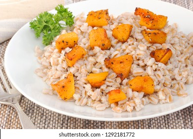 Farrow mixed with roasted squash is very high in fibre and iron and is a healthy  alternative to white rice