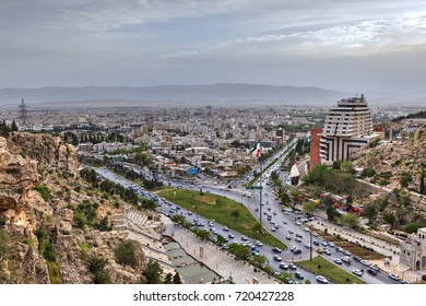 Fars Province, Shiraz, Iran - 18 april, 2017:  General view from above to the city before sunset.