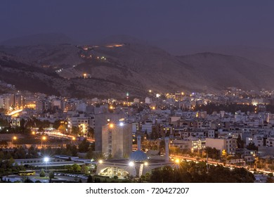 Fars Province, Shiraz, Iran - 19 april, 2017: Top view of the city and the evening lights.