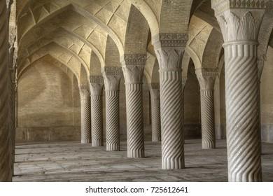 Fars Province, Shiraz, Iran - 19 april, 2017: Prayer Hall at Masjid Vakil or Regents Mosque.