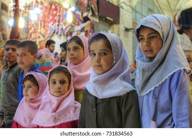 Fars Province, Shiraz, Iran - 19 april, 2017: A group of Iranian children of primary school age visited the Vakil bazaar.