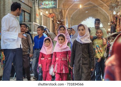 Fars Province, Shiraz, Iran - 19 april, 2017: Iranian group of primary school children visited market or Vakil Bazaar.