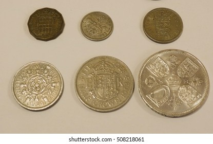 farthing (quarter of 1d), half-penny, penny, three-pence, six-pence, shilling (1s), two shillings (2s), half-crown (2/6), coronation crown (5/-)