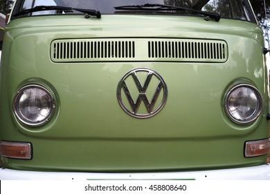 Fasana,Croatia-july 15,2016 :front side of an old classic green Volkswagen van