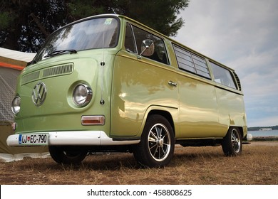 Fasana,Croatia-july 15,2016 :old classic green Volkswagen van parked in a camping