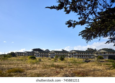 fascinating defunct and decaying houses in an abandoned area near Monterey, California; these buildings have been vacant in a deserted wasteland since the mid-nineties
