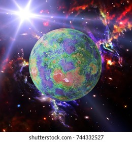 Fascinating exoplanet in the deep space. The elements of this image furnished by NASA.