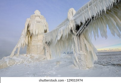 Fascinating ice formations on Michigan St. Joseph Lighthouse