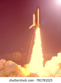 Fascinating rocket launch with dramatic clouds. The elements of this image furnished by NASA.