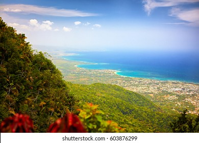 fascinating view on Puerto Plata city and Atlantic ocean from the top of Pico Isabel de Torres, Dominican Republic