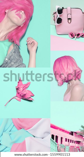 Fashion Aesthetic Moodboard Pink Blue Pastel Stock Photo Edit Now 1559901113