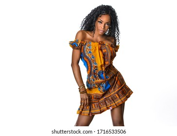 Fashion African young woman portrait in national outfit