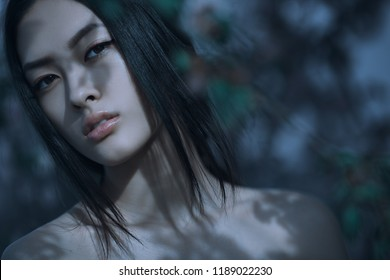 Fashion Art Mystical Spring Model Girl Portrait in Moonlight Night. Sexy Glamour Summer Beautiful Woman with flowers over nature blurred background. Asian beauty.