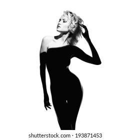 Fashion art photo of beautiful lady with gorgeous body